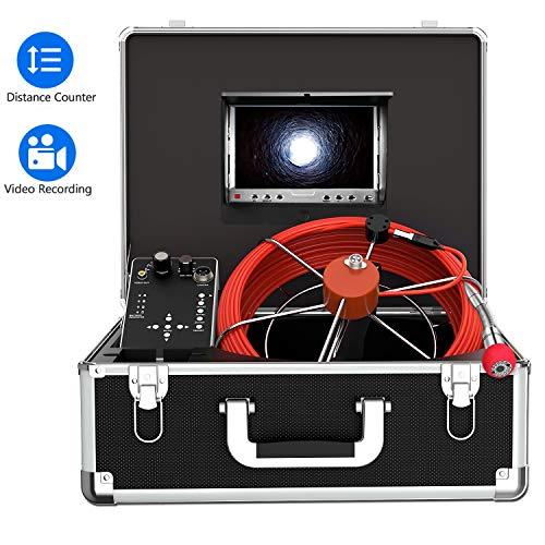 Rohr Inspektionskamera mit Abstand Zähler, 30M Kanalkamera mit DVR Funktion Pipeline Drain Rohrdetektor Kamera Industrie Wasserdichtes IP68 Endoskop-Videosystem mit 7
