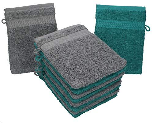 Betz 10 Stück Waschhandschuhe Premium 100% Baumwolle Waschlappen Set 16x21 cm Farbe smaragdgrün und anthrazit