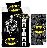 rainbowFUN.de Parure de lit Batman pour enfant 135 x 200 cm Serviette 70 x 140 cm Coton Drap de bain