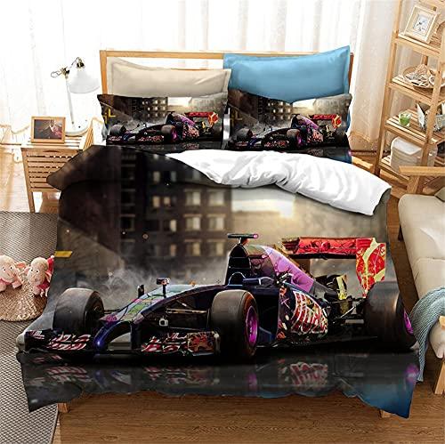 Set di biancheria da letto 135 x 200 cm, con motivo a un unico motivo, auto sportive, veicolo Race Car Teme, biancheria da letto per ragazzi e federe 80 x 80 cm (YR-07,200 x 200 cm + 50 x 75 cm x 2)