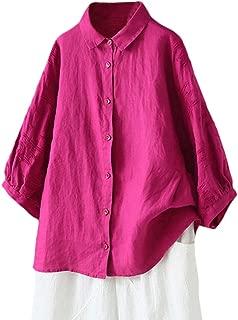 Women's 3/4 Sleeve Blouse Cotton Linen Embroidery Shirt Tops