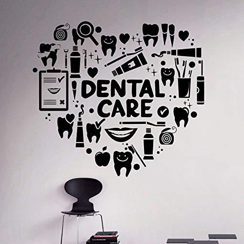 Abkbcw Tienda Dental Pegatinas de Vinilo para Pared Signo de Cuidado Dental Pared decoración bucal Vinilo Herramientas de Dentista póster de Pared 48x51 cm