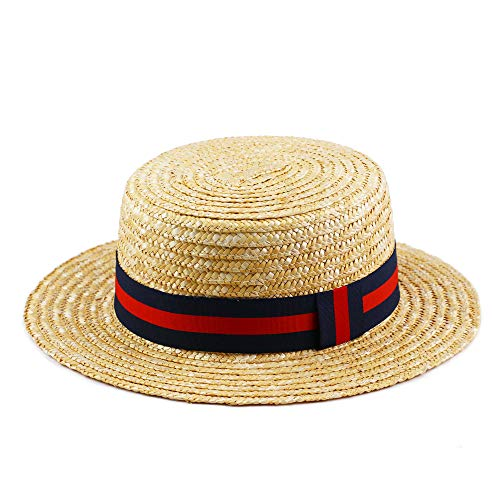 Daesan Boater Hat Straw Skimmer Hats 1920s Gangster Sailor Roaring 20's Costume Blue and Red