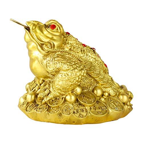 J.Mmiyi Latón Feng Shui Dinero Rana Adornos (Bastón Riqueza Diseño De Rana O Dinero Sapo) Estatua, Regalo De Decoración para El Hogar,A