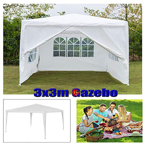 Gazebo with Sides 3m x 3m - Heavy Duty Marquee Canopy - 120g Waterproof Outdoor Garden Gazebo Party Wedding Camping Tent - Powder Coated Steel Frame - White