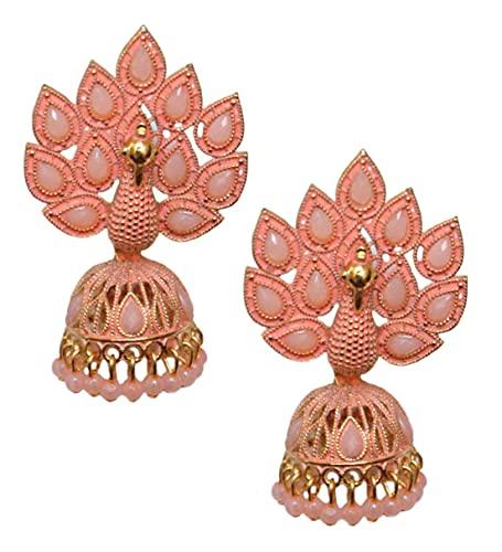 Pahal Traditional Jaipur Peach Orange Pearl Kundan Painted Big Gold Jhumka Earrings Peacock Indian Bollywood Bridal Wear Jewelry for Women