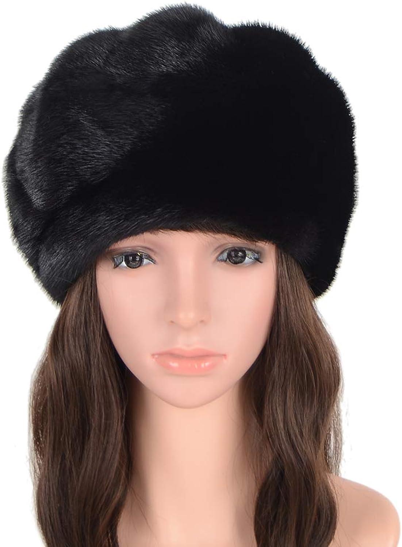 MH Bailment Real Whole Skin Mink Fur Hat Women Real Mink Fur Berets