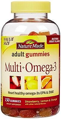 Nature Made Multi+Omega3 Adult Gummies Strawberry Lemon & Orange -- 90 Gummies
