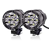 YnGia Faros antiniebla LED para motocicleta de 12 V y 24 V, 2 luces LED auxiliares de conducción blancas para motocicleta, luces DRL universales para motocicleta, ATV, SUV, camión, coche, barco