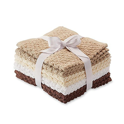 Essential Home 8 Pack Popcorn Texture Terry Wash Cloths Rags Brown Beige Tan White