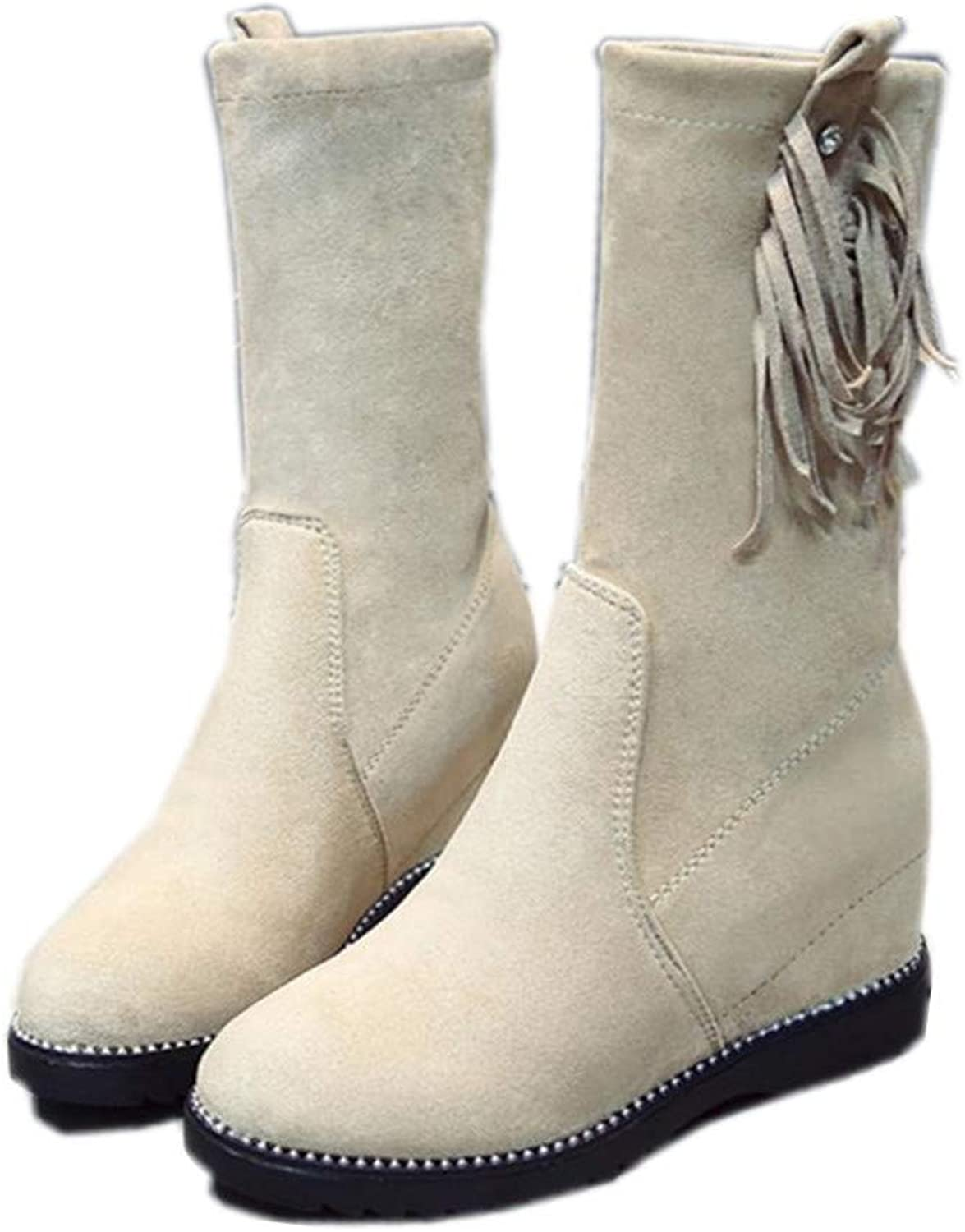 Gusha Women's Round Toe Boots Tassels Boots Winter Casual Boots