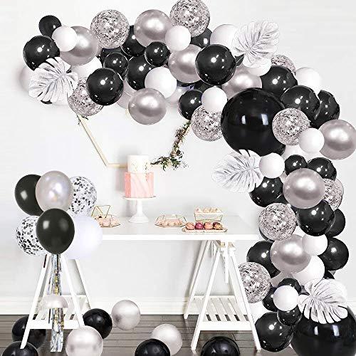 SPECOOL 100 Piezas Decoracion Cumpleaños Kit de Guirnalda de Globos Arch, Feliz Cumpleaños con Globos Plateados Metálicos, Blancos, Negros y Confeti Más Hojas Plateadas de Palma