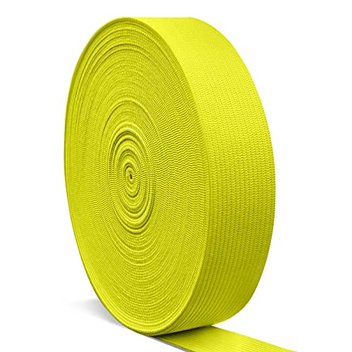 Elastic Bands for Sewing 1 Inch, Hengiee Braided Elastic for Sewing Wigs, Waistband, Skirt, Pants, Headband, Bed Sheets, Kids Clothes, Craft DIY Projects(Yellow, 12 Yard)