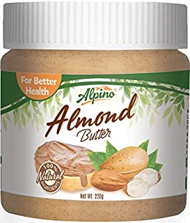 Alpino Natural Almond Butter 220 G (Unsweetened / Gluten Free / Non-GMO / Vegan)