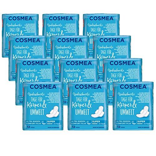 Cosmea Ultra Binden Vorteilspack, Hygiene-Einlagen aus nachwachsenden Rohstoffen. Damen-Hygiene im Einklang mit der Natur (Super (12x12 Stück))