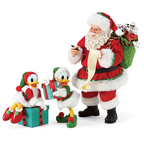 Department 56 Possible Dreams Disney Donald and Daisy Duck Santa and His Helpers Figurine Set, 10.5 Inch, Multicolor