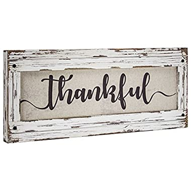 American Art Decor  Thankful  Rustic Wood Framed Canvas Art Sign