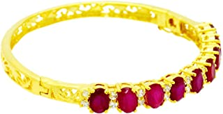 22k 23k 24k Yellow Gold Plated Women Rare Thai Tennis Cz AAA Syn Ruby Bracelet 5 Mm 2 Inches