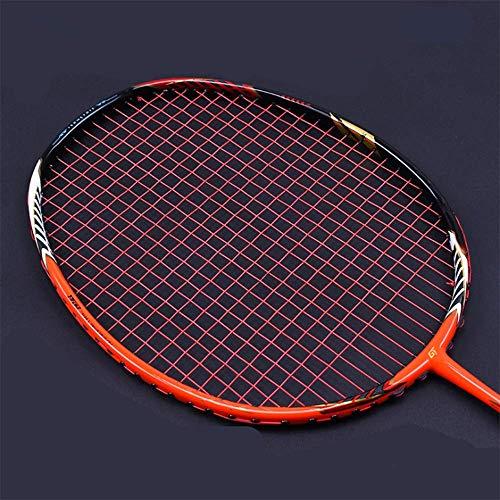 QIAO Badminton-Schläger, Full-Carbon-Badminton-Schläger echt, Ghost Chop Rahmen, Offensive Profi-Schläger,Red