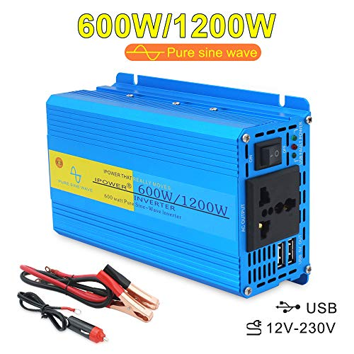 Cantonape 600W DC 12V to AC 230V 240V Car Charger Converter Pure Sine Wave Power Inverter with Universal Socket and 2 USB Ports