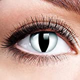 Farbige Kontaktlinsen mit Stärke Viper Schwarz Weiß Linsen Halloween Karneval Fasching Cosplay Anime Manga Schwarze Weiße Augen Cat Eye Katzen Reptil Schlange Katzenauge - 2,5 dpt