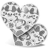 Impresionante 2 pegatinas de corazón de 7,5 cm BW – Woodland Fox búhos árbol setas divertidos calcomanías para portátiles, tabletas, equipaje, libros de chatarra, neveras, regalo genial #35685