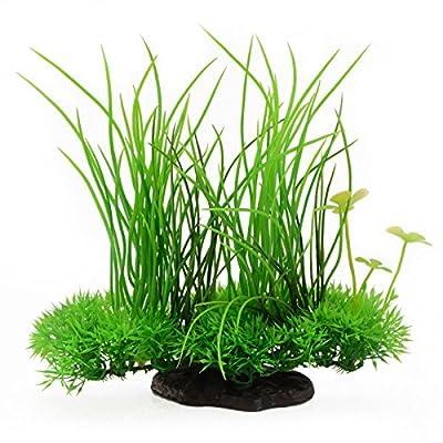 "Saim Plastic Artificial Aquarium Long Leaf Plant Decor Fish Tank Ornament Green Yellow 7.9"" Height"
