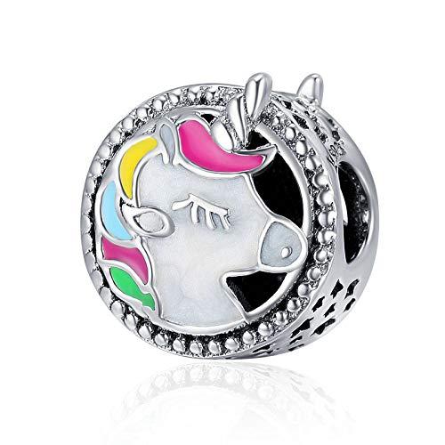 Charms Bead Unicorn,joyería del encanto de Pandora de las mujeres chapado en...
