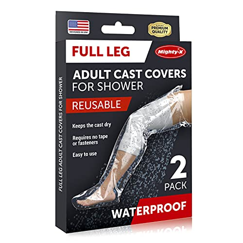 100% Waterproof Cast Cover Leg - 【Watertight Seal】 - Reusable Full Leg Cast Covers for Shower Adult Thigh, Knee, Ankle, Foot - Pack of 2