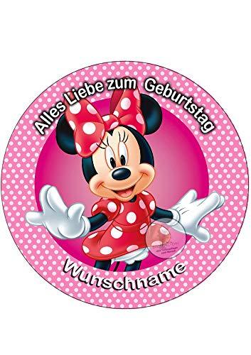 Minnie Maus, Essbares Tortenbild + Wunschname, Tortenaufleger Ø 20cm - 0223W