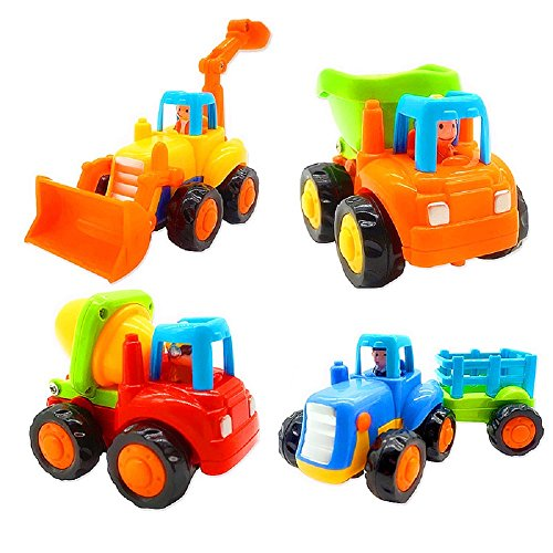 Friction Powered Cars, Push and Go Toy Trucks Construction Vehicles Toys Set for 1-3 Year Old Baby Toddlers- Dump Truck, Cement Mixer, Bulldozer, Tractor, Early Educational Cartoon ( Set of 4)