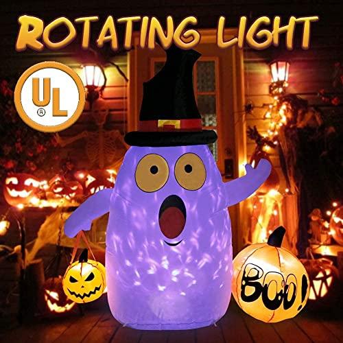 OurWarm Gonfiabili di Halloween, fantasma di Halloween, con zucca, per decorazioni da giardino, Halloween, decorazioni per cantiere