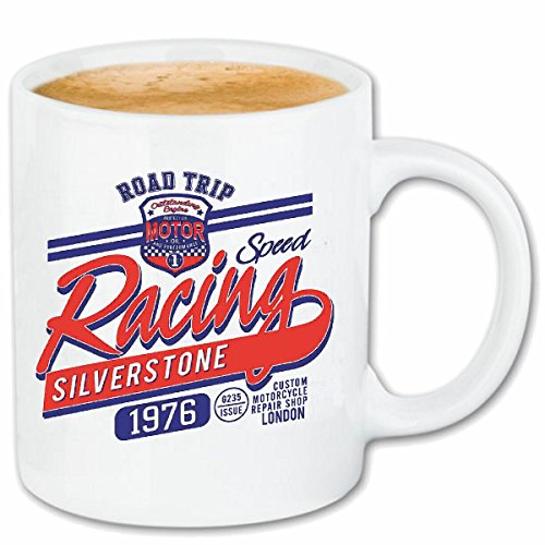 Reifen-Markt Kaffeetasse Speed Racing Silverstone Race Racing Formel Motor Team Speed Speedway Classic American Keramik 330 ml in Weiß