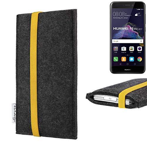 flat.design vegane Handy Tasche Coimbra für Huawei P8 Lite 2017 Dual SIM - Schutz Hülle Tasche Filz vegan fair gelb