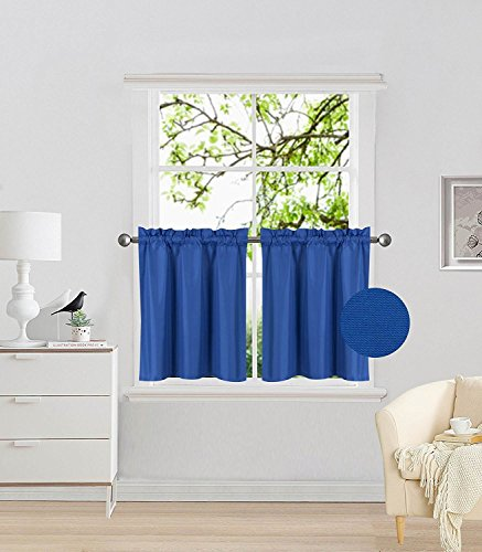 Fancy Collection 2 Panel Royal Blue Bedroom Curtains Blackout Draperies Thermal Insulated Solid Rod Pocket Top Drapes for Kid's Room, Bathroom, Kitchen Privacy Window Dressing New