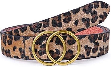 WERFORU Lederg/ürtel f/ür Damen mit Goldene Schnalle Mode Doppel Rund Schnalle G/ürtel Vintage Ll/ässiger H/üftg/ürtel Tailleng/ürtel f/ür Jeans Hosen Kleider