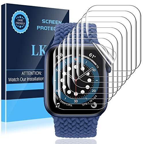 LK 8 Pack Protector Pantalla Compatible con Apple Watch Series 6 SE 44mm, TPU-Film,Alta definición,Sensible al Tacto