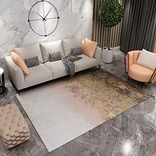 Kunsen Alfombras Grande La Alfombras Alfombra de decoración de Sala de Estar de diseño de Tinta degradada Blanca Rosa marrón Regional Creativo Sofá La alfombras 200 * 300cm
