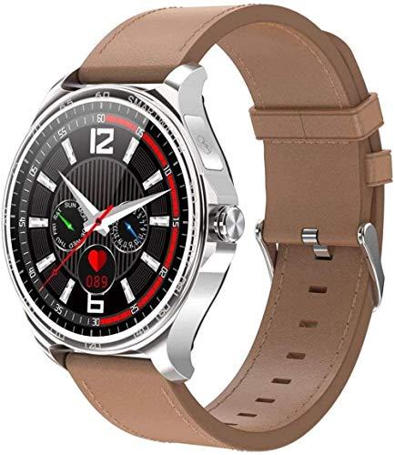 JSL Smart Watch 1 3 pulgadas de alta definición Full Touch Ips Pantalla a color de llamada entrante recordatorio de llamada Bluetooth llamada para Android y iOS cuero plateado
