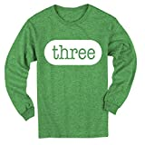 Happy Family Clothing Third Birthday Three 3rd Birthday Outfit Toddler 3 Year Old for Boys and Girls Type Font T-Shirt (4T, Green Heather - Long Sleeve)