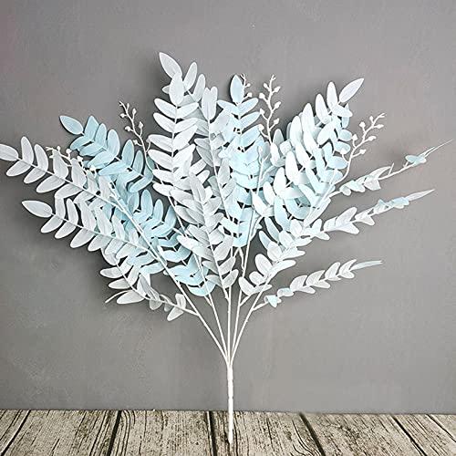 Rama de hojas artificiales coloridas, 4 piezas de falso vegetal, hojas de imitación para el hogar, boda, decoración de baby shower