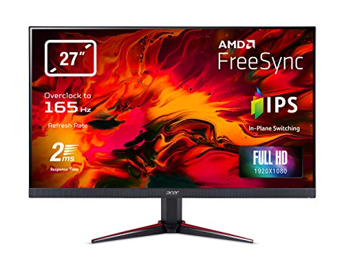 Acer Nitro VG270Sbmiipx 27-inch FHD Gaming Monitor - (IPS Panel, FreeSync, 165Hz (OC), 1ms, ZeroFrame, DP, HDMI, Black) ,UM.HV0EE.S01, Black/Red