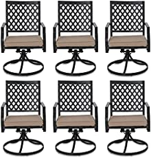 PHI VIALLA Patio Outdoor Swivel Dining Chairs Outdoor Furniture Chairs Set of 6 with Cushion Suports 300lbs for Lawn Garden Backyard Weather Resistant-Black Frame