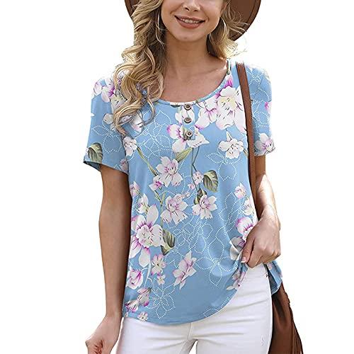 SLYZ Camiseta De Manga Corta De Verano para Mujer Camiseta Informal Holgada con Cuello Redondo Y Estampado De Todo Fósforo para Mujer