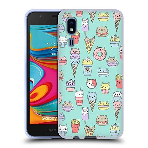 Officiële Andrea Lauren Design Kattenvoer Voedsel Patroon Soft Gel Case Compatibel voor Samsung Galaxy A2 Core (2019)
