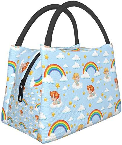 Lindo ángel con arco iris y estrella Bolsas de asas multifuncionales para el almuerzo Bolsa térmica reutilizable Recipiente para el almuerzo Bolsa de aislamiento portátil