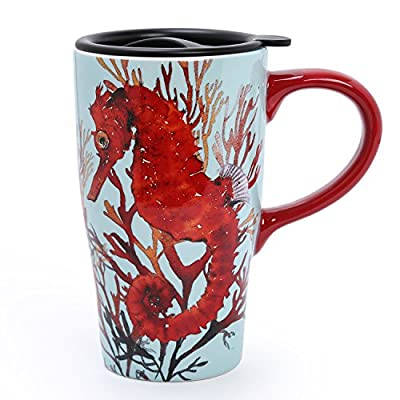 Red Seahorse Ceramic Coffee Travel Mug With Lid