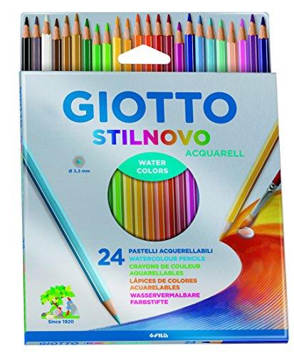Giotto 255800 Pastelli Acquerellabili Stilnovo, 3.3 mm, Confezione da 24