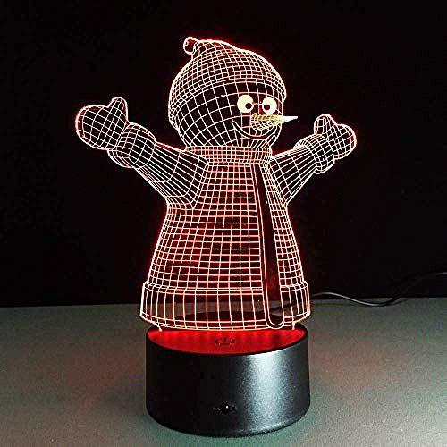 Creativo de Noche Luces de Navidad Muñeco de Nieve 7 Colores Luces de Visión 3D Led para Niños Táctil USB Mesa Bebé Dormir USB