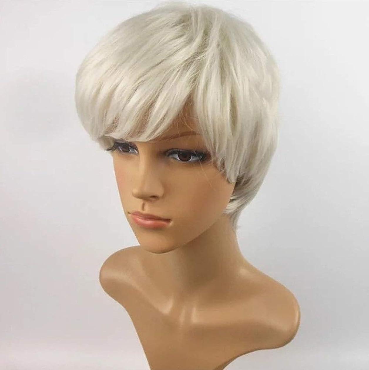 ドキュメンタリーメタリックラベKerwinner 短い巻き毛のかつら髪かつら女性のための自然な耐熱フルウィッグ (Color : White)